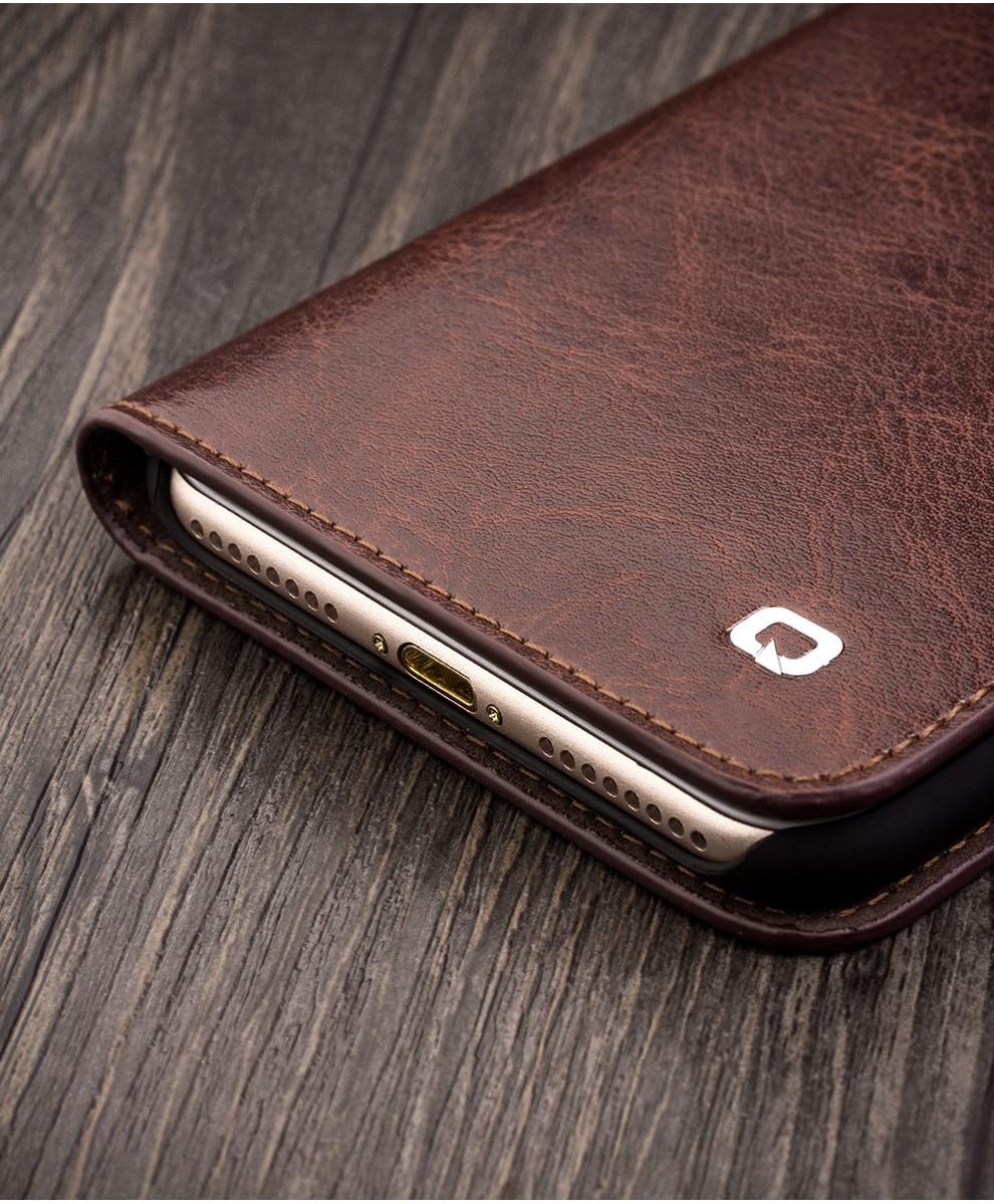 QIALINO 2016 מקרה עבור iPhone 7 מקורי Flip עור ארנק כיסוי דק במיוחד עבור iPhone 7 בתוספת אופנה טהור בעבודת יד המקרה 4.7/5.5