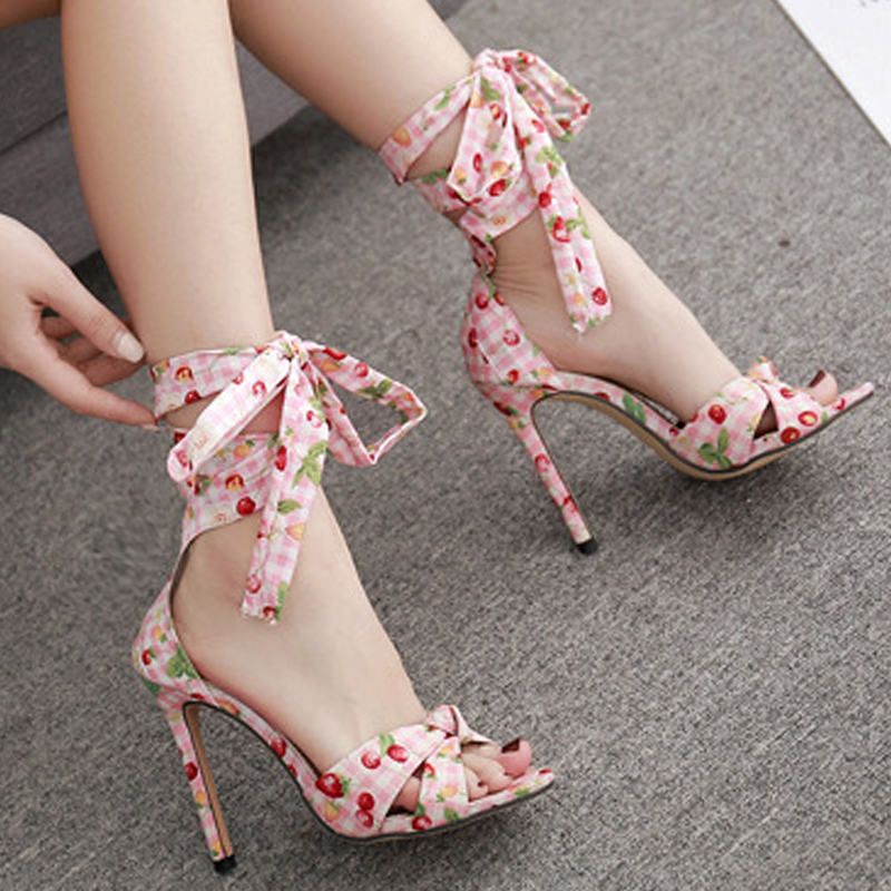 HEE GRAND New Summer Ankle Strap High Heels Women Slip On Lace Up Pointed Toe Sandals Lady Party Casual Fashion Shoes XWZ5385