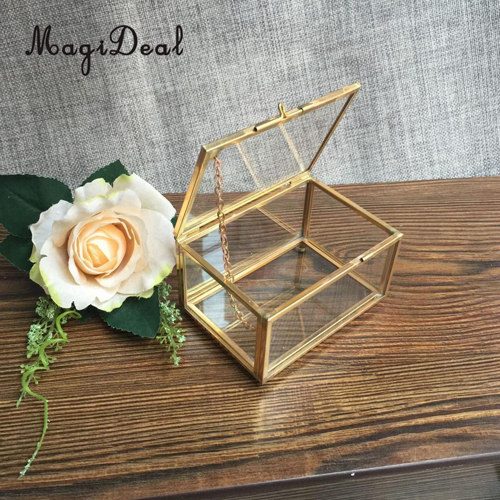 Geometric Glass Jewelry Box Table Succulent Plants Container Home Table Decoration