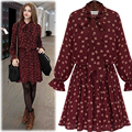 Hot Sale! 2016 New Spring Casual Women Dresses Large Size Flare Sleeve Bow Collar Pleated Dress Female 2281