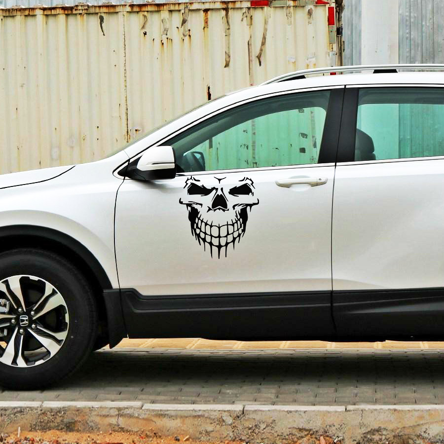 pickup sticker suv sports 1PC skull styling stripe graphic Vinyls Hood Scoop Side Door rear window door badges detailing decals in Car Stickers from Automobiles Motorcycles