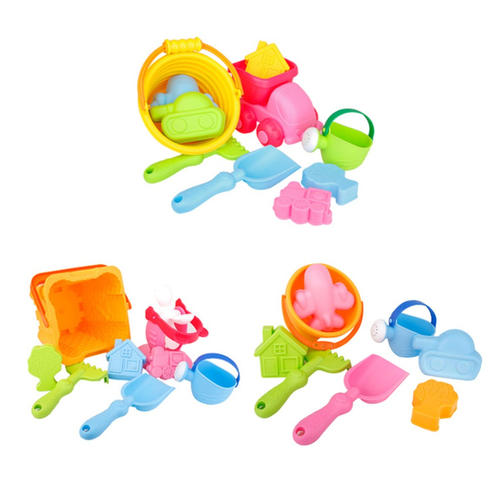 10 Pcs Beach Toys Portable Bucket Shovel Plastic Beach Toys Sand Play Set For Kids