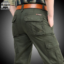NIANJEEP Cargo Pants Mens Cotton Military Multi-pockets Bagg