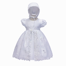 Free Shipping Cotton Lining 3M-18M infant Baptism Gowns For Baby Dress Embroidery Organza  White Communion Dresses Short Sleeves