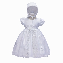 Free Shipping Cotton Lining 3M-18M infant Baptism Gowns For Baby Dress
