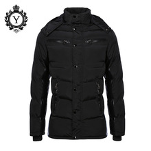 COUTUDI 2017 Solid Black Mens Long Winter Jackets Thick Hooded Cotton-padded Down Jacket Waterproof Casual Warm Parka Coats Male