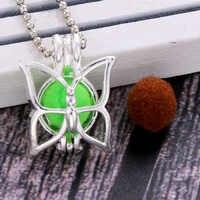 4 di colore della farfalla Pendenti con gemme e perle Gabbia di Perle Della Collana del Locket Vintage Essenziale di Aromaterapia Diffusore di Olio Catena Locket Per La Ragazza di Fascino