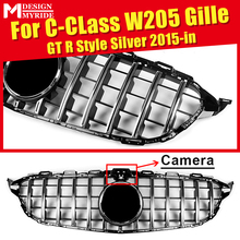 Fit For W205 Front Grille GTS Style with Camera C-Class Sports C180 C200 C250 ABS Silver Sport Bumper 2015-in
