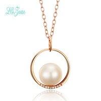 L & zuan 18 K Rose Gold 0.018CT Kim Cương Tự Nhiên Ngọc Trai Nước Ngọt Necklace Pendant Đối Với Phụ Nữ Giáng Sinh Trao Đổi Quà Tặng Đảng