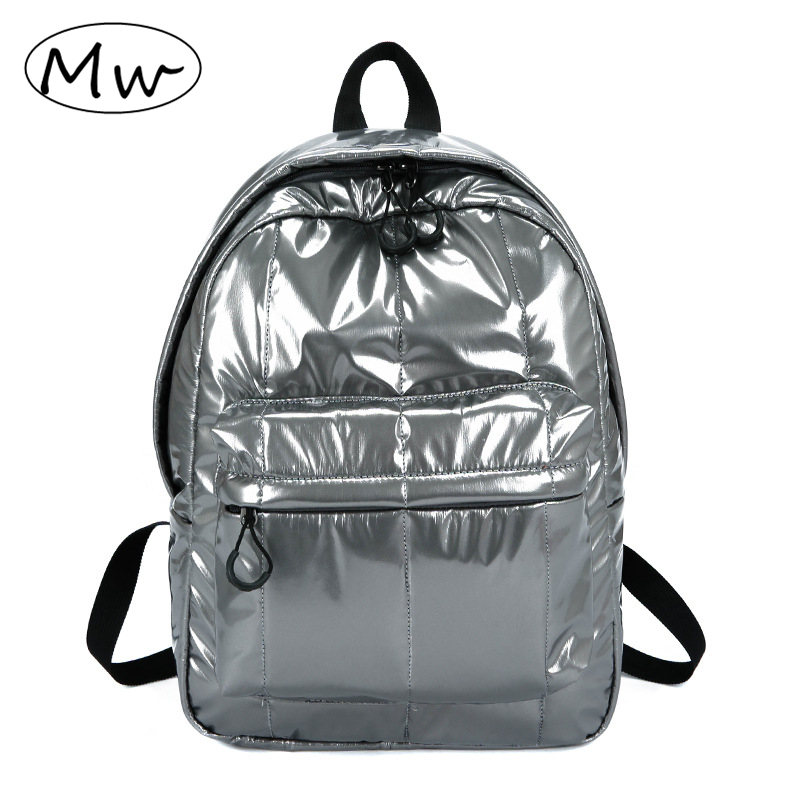 Casual Fashion Men Women Nylon Glossy Backpack Waterproof Female Sports Backpack Lightweight Students School Bag Rucksack 2019