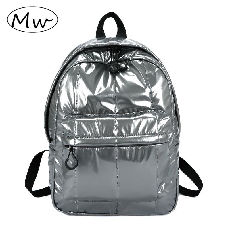 Casual Fashion Men Women Nylon Glossy Backpack Waterproof Female Sports Backpack Lightweight Students School Bag Rucksack 2019