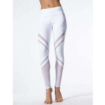 Fashion Women Fitness Leggings White High Waist Woman Clothes Casual Long Trousers Slim Mesh Patchwork Womens Stretch Leggings