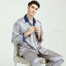 Męskie jedwabne piżamy z satynową Piżamą zestaw Pidżama Bielizna nocna loungewear M L XL XXL 3XL tanie tanio Mężczyzn Pajamas Kołnierz skrętu Regularne Polka kropka Pełne Z LONXU Przycisk Fly Lycra jedwab Casual