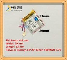 482933 500 mah 3.7 V batterie au Lithium polymère avec panneau de Protection pour MP3 MP4 GPS produits numériques livraison gratuite