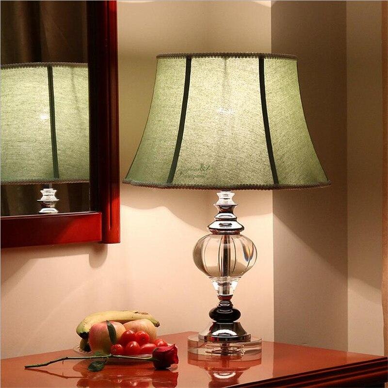 Высокая мода конца американский кантри K9 Зеленый Кристалл Ткань Абажур Led E27 Настольная лампа для Гостиная Спальня ночники 1438