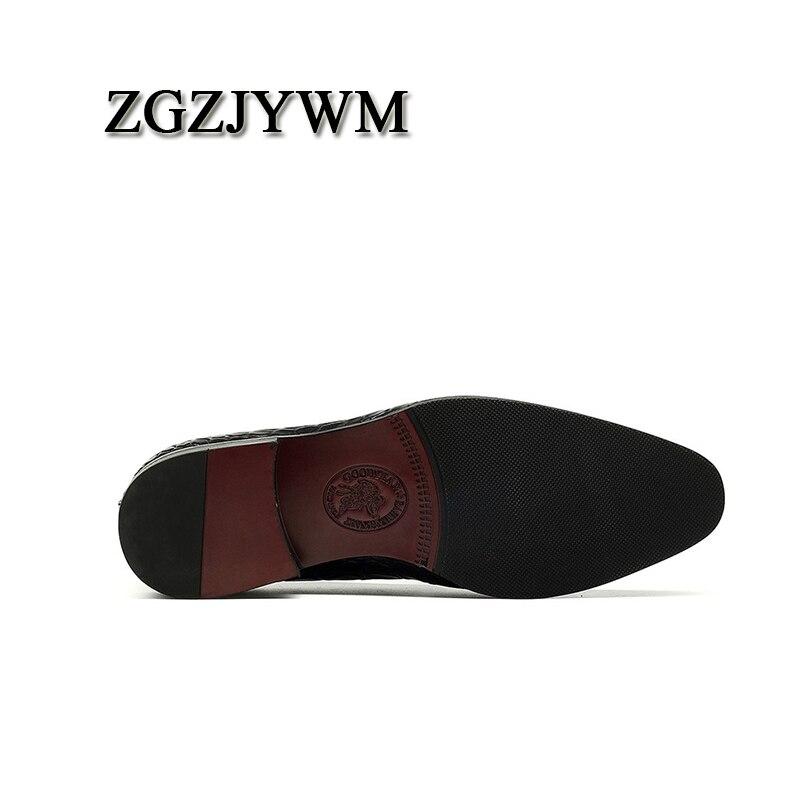 Nova De Couro Cavalheiro Zgzjywm Casuais Preto blue Moda Elástico Plana Dedo Sapatos azul Pé Genuíno Black Confortável Pontas Do Clássico Homem Sr00dqYw