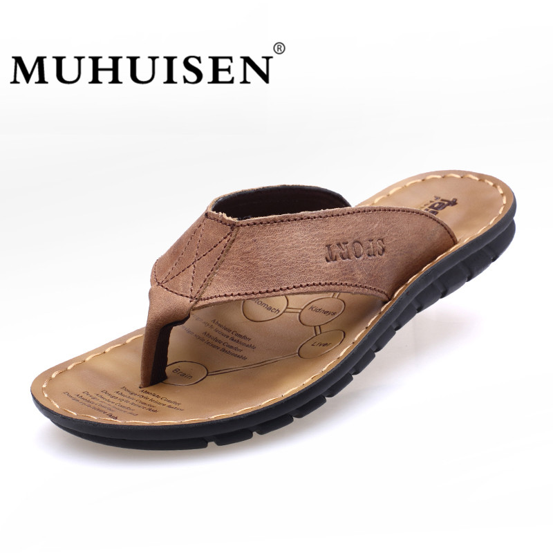 New Arrival Summer Cowhide Leather Men Flip Flops Shoes Genuine - Men's Shoes - Photo 1