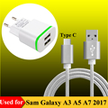 Dual USB EU Plug Travel Charger + 3F Type C Cable for Samsung Galaxy A3 A5 A7 2017 (A320F A520F A720F) Charging Data USB-C