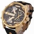 SHIWEIBAO 3137 Cuero Doble Dial Cuarzo Reloj de Los Hombres Frescos de Moda Dial Grande