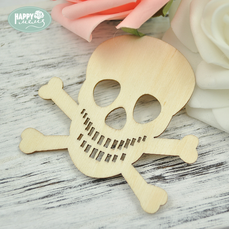 Happymems Wood Shapes Skull Head 24pcs Wall Stickers Natural Wooden Crafts DIY Scrapbooking Embellishments Home Decorations Kids