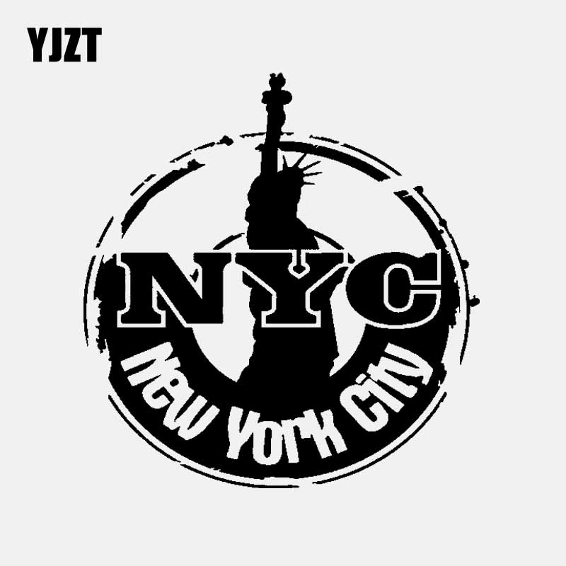 YJZT 16.1CM*16.9CM CARTOON VINYL DECAL CAR STICKER NEW YORK CITY Black/Silver C3-1827