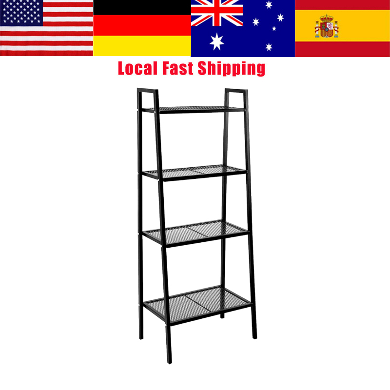 4 Tiers Storage Display Shelf Bookshelf Bookcase Book Storage Holder Stand Display Rack For Home Office White/Black 60*35*148cm nb 35 rotational professional recording microphone stand holder black white