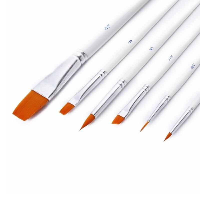 6 Pcs/set Hot Single Item Nylon Paint Brush Hair White Rod Multi-function Brush Gouache Watercolor Oil Manicure Brush Set