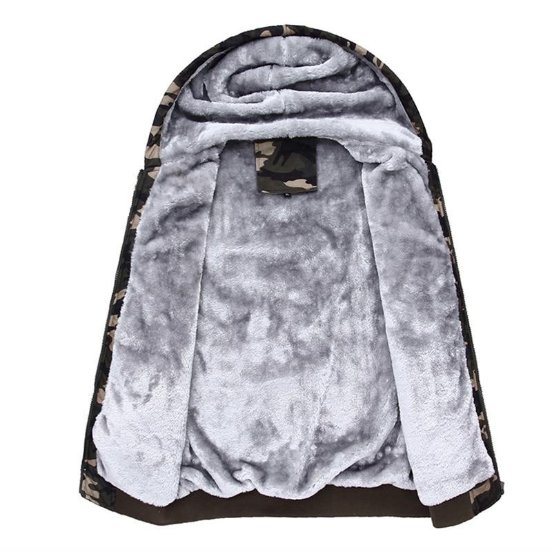 Image 3 - 2019 Winter Men Hooded Jackets Casual Sweatshirts Camouflage  Mens Sportswear Hoodies Fleece Camo Warm Thick Moletom  MasculinoHoodies