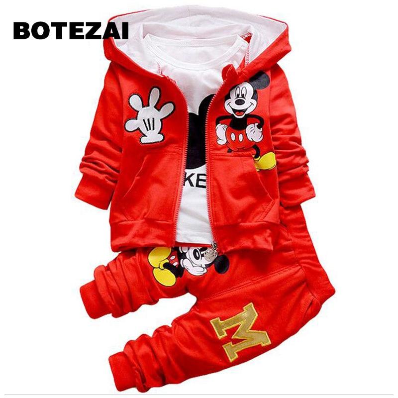 2017 Kids Boys Clothing Set Autumn Winter 3 Piece Sets Hooded Coat Suit Baby Girls Clothes Set Spring Cotton Chidren Clothes