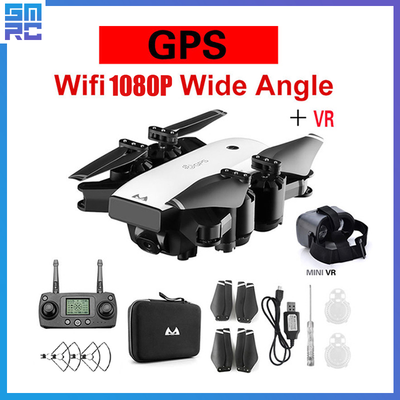 SMRC S20 drone 1080P HD Camera with Double GPS FOLLOW ME FPV RC Quadcopter Foldable Selfie Live Video for Child gift beginners