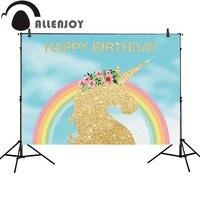 Allenjoy Photo Background Golden Unicorn Rainbow Birthday Party Light Blue Backdrop Fantasy Props For Newborn Photocall