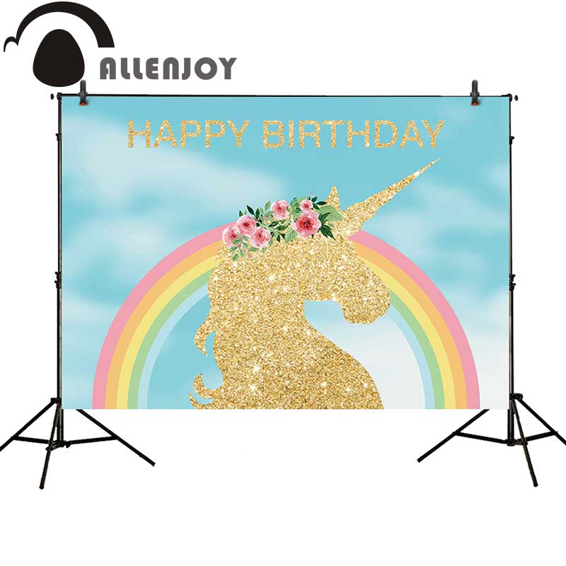 Allenjoy photo background golden unicorn rainbow birthday party blue flower backdrop fantasy props for newborn photocall