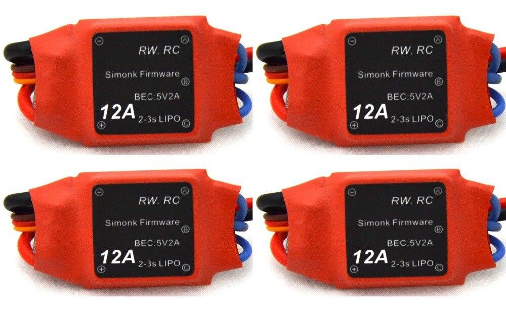 4pcs 2 3s 12amp 12a Simonk Firmware Brushless Esc W bec Quad Multi Apm Naza For