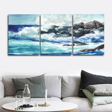 Laeacco Canvas Calligraphy Painting 3 Panel Sea Wave Posters and Prints Wall Artwork Picture Living Room Home Decoration