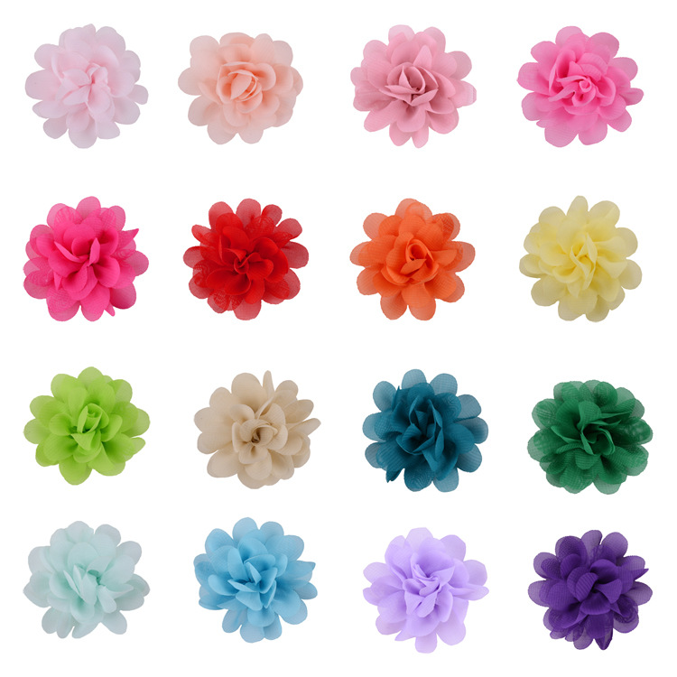 30pcs Mix Color Riffled Chiffon Hair Flower Without Hair Clip Girl Headwear Accessories