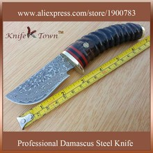 DT067 damascus knife goat horn handle fixed outdoor hunting knife Camping Knife faca baioneta coltelli da caccia facas