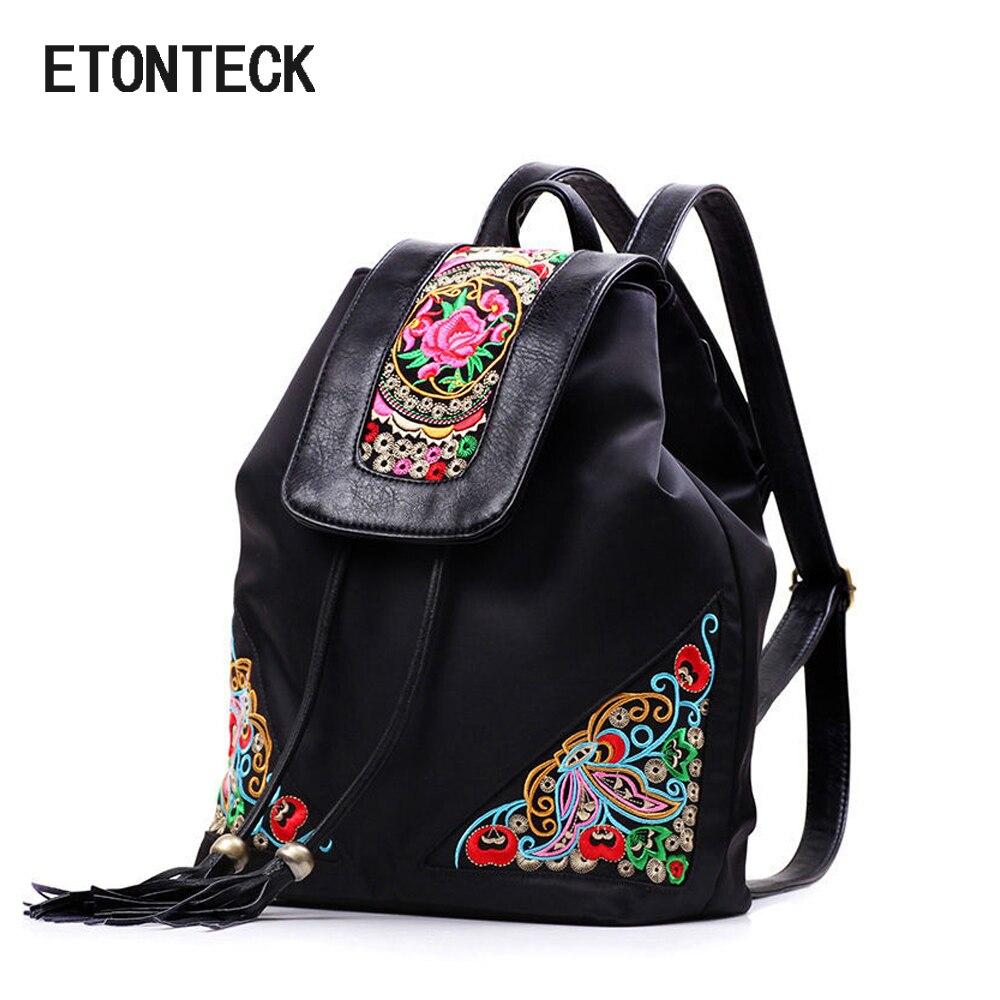 New Vintage Embroidery Ethnic Backpack Women Handmade Flower Embroidered Travel Bags Schoolbag Female Backpacks Rucksack Mochila