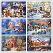 5D DIY Diamond Painting Winter Cross Stitch Embroidery Snow Scenery Full Round Landscape Wall Decoration