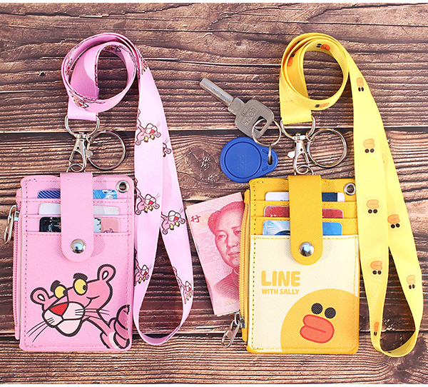 PU Leather Work Certificate Name Badge Holder Set With Neck Lanyard Double Storage Pocket Student Meal Card Transportation Card