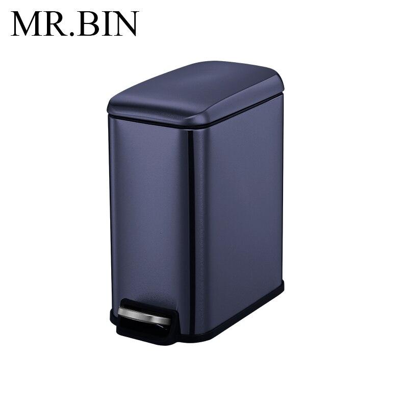 MR. BIN 5L Нержавеющая Сталь Шаг Мусорный бак педаль мусорное ведро с PP внутренний бак мусорное ведро современный простой мусорное ведро для дома - Цвет: Dark Blue