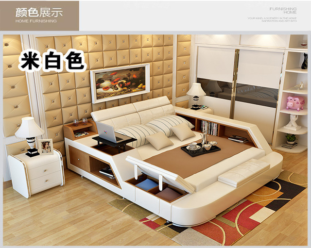 Genuine Leather Bed Frame w/ Storage  5