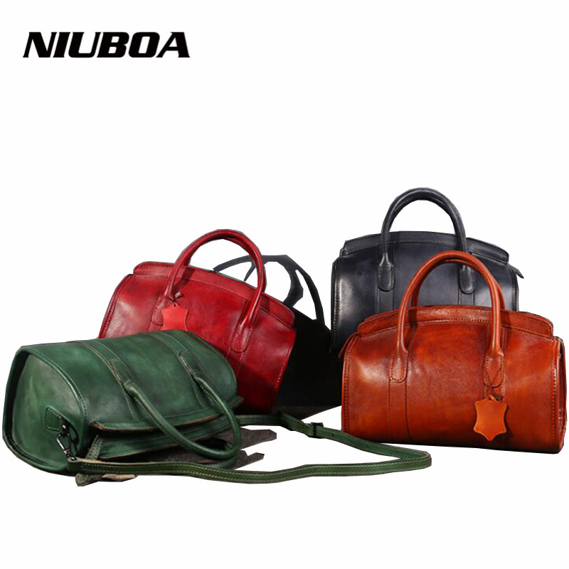 NIUBOA Casual Tote Women Shoulder Bags 100% Genuine Leather Vintage Hadbag Hot Design Leather Handbags Luxury Crossbody Bags niuboa genuine leather shoulder bags 100