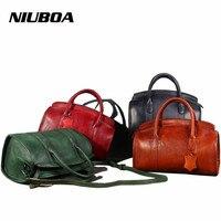 NIUBOA Casual Tote Women Shoulder Bags 100 Genuine Leather Vintage Hadbag Hot Design Leather Handbags Luxury