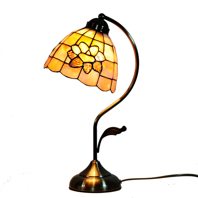 7 Mediterranean Curved Pole Fl Tiffany Stained Gl Table Light Lamp Living Room Bedroom Bedside