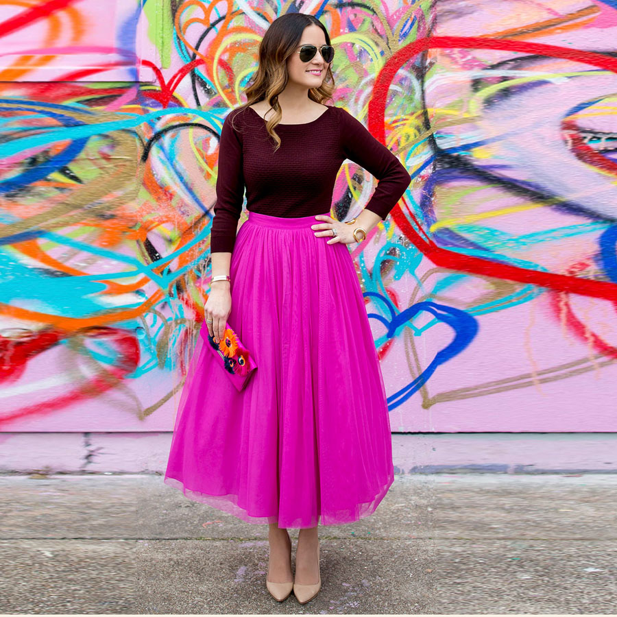 Colored 2017 Fuchsia Color Ankle Length Tulle Skirts Women Zipper Style Hot Pink Fashion Tutu Skirt Female Clothing Saia