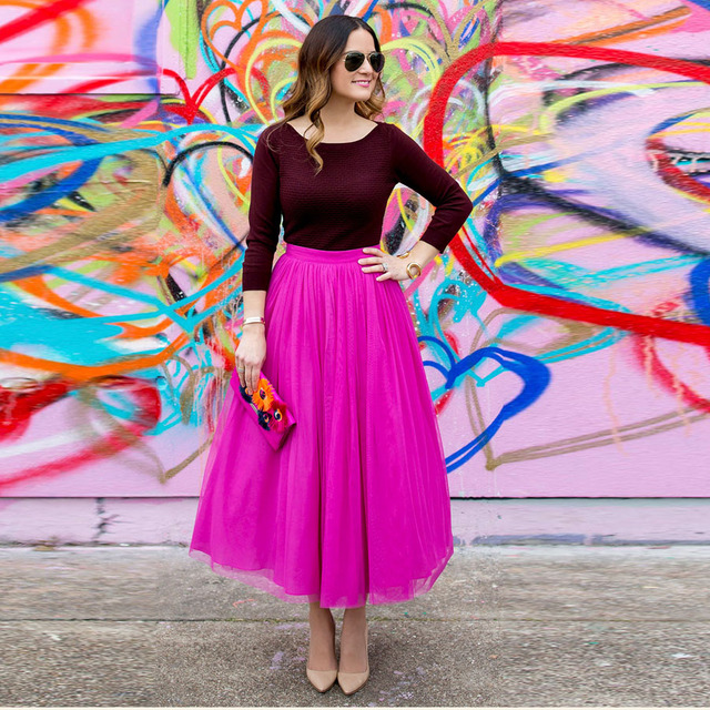 3293594abc Colored 2017 Fuchsia Color Ankle Length Tulle Skirts Women Zipper Style Hot  Pink Fashion Tutu Skirt Female Clothing Saia