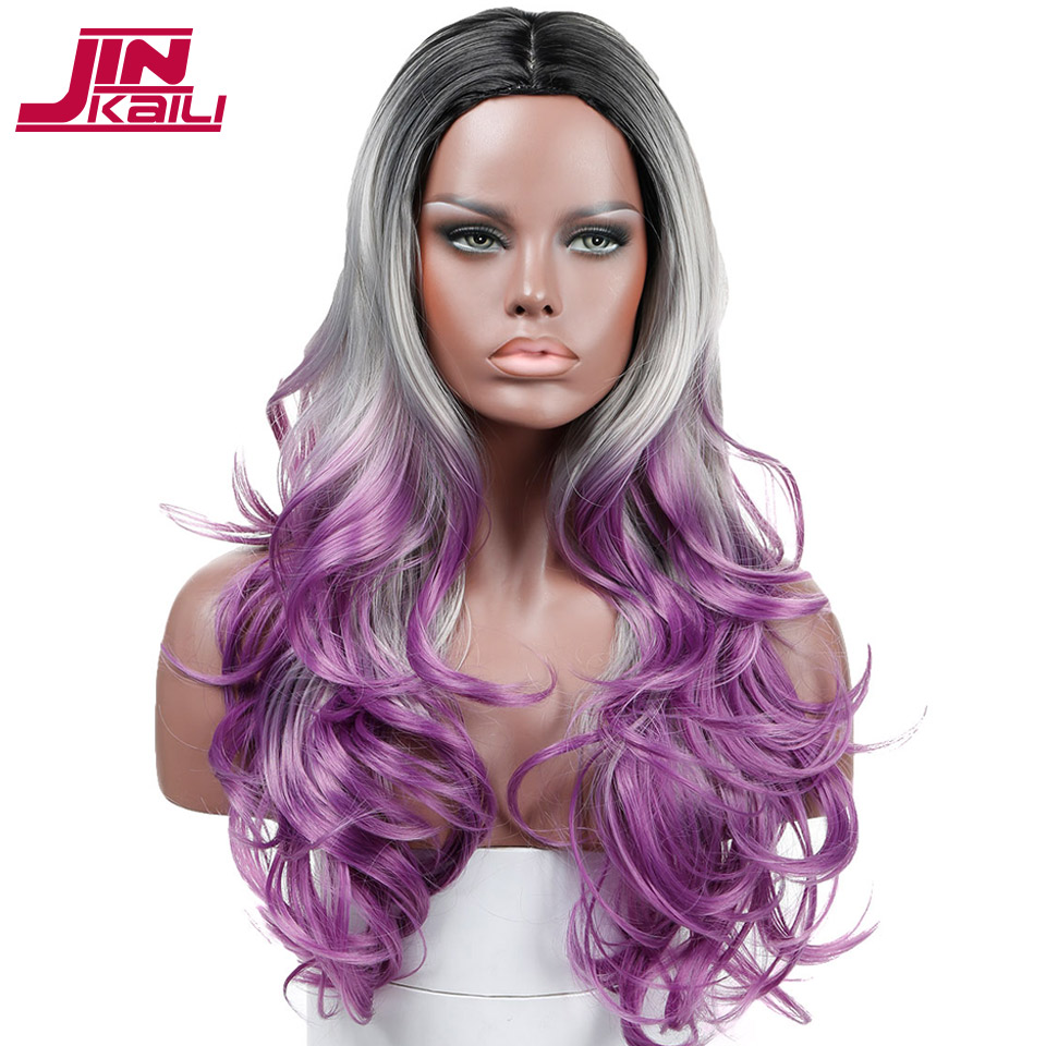 JINKAILI WIG Ombre Purple Long Curly Wavy Heat Resistant Synthesis Cosplay Party Wigs For Women