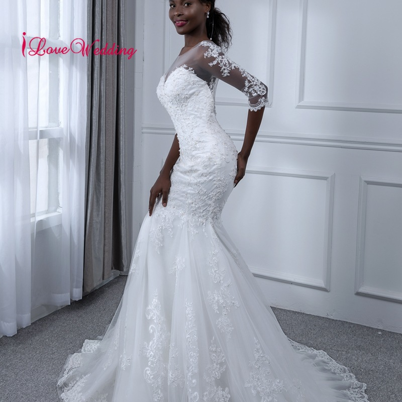 Hot Sale 2019 Mermaid Wedding Dress Illusion Scoop Collar Lace Applique Custom made Vestidos de novia Three Quarter Bridal Gown