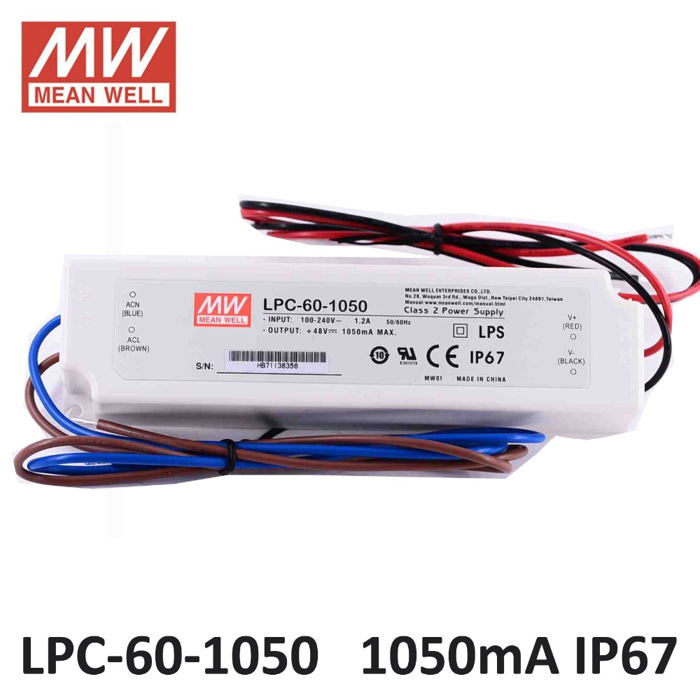 HTB16HD1XFHFK1JjSZFzq6z23XXay - Meanwell LPC-60-1050 constant current led power supply 9-48VDC output 50.4W 1050mA waterproof driver for Led strip lighting