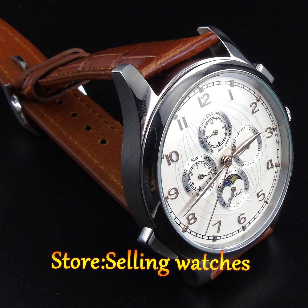 Parnis 44mm Gouden handen Maanfase Multifunctionele Automatisch uurwerk horloge - 3